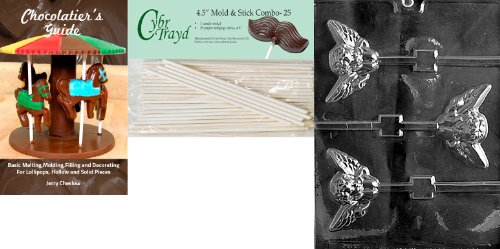 Cybrtrayd 'Large Cherub Pop' Valentine Chocolate Candy Mold with 25 4.5-Inch Lollipop Sticks and Chocolatier's Guide