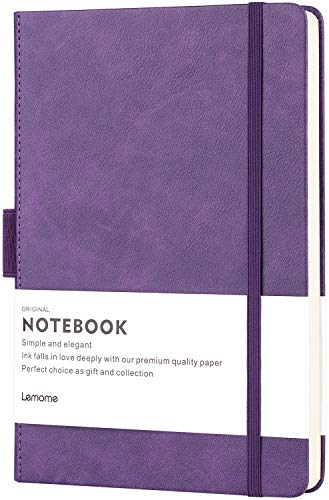 Thick Classic Notebook with Pen Loop - Lemome A5 Wide Ruled Hardcover Writing Notebook with Pocket + Page Dividers Gifts, Banded, Large, 180 Pages, 8.4 x 5.7 ()