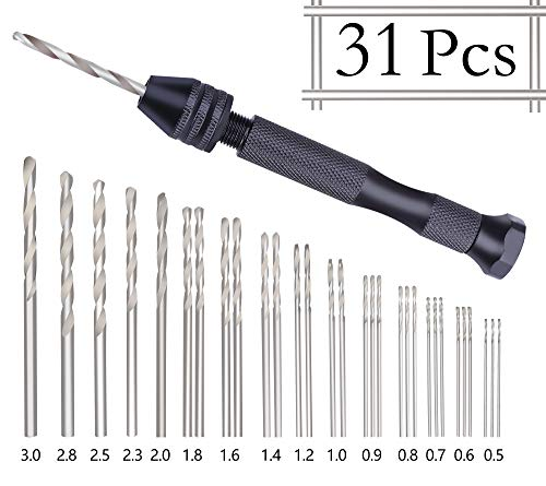 Twist Drill Kit - Precision Pin Vise Hobby Drill with Model Twist Hand Drill Bits Set for DIY Drilling Tool 31 Pieces by LnBirch