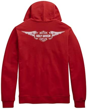 Harley-Davidson Sweat-shirt à capuche avec logo ailé pour homme Rouge