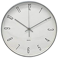 COMODO CASA Wall Clock- Metal Silver Frame-Glass Cover-Non Ticking-Quartz Sweep-Silent 9.8 inch Retro Clock (Model A)