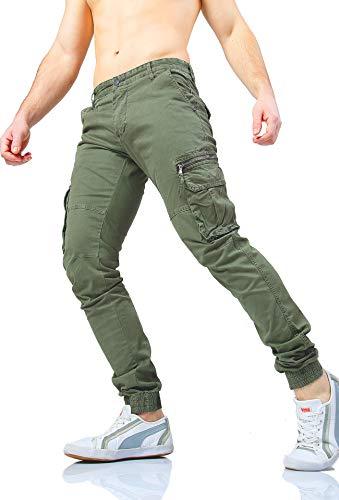 W7 Slim Cargo Instinct Tasconi Laterali 8801 Uomo Fit Con Verde Pantaloni Tasche Zip pwxCwqFv