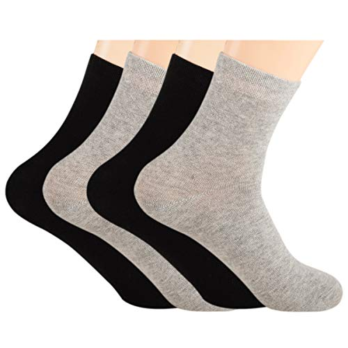 Cotton Bamboo Blend Women Socks Quarter Length Socks Athletic Odor-free Set of 4 Pairs Size 5-8 (Black+Grey)