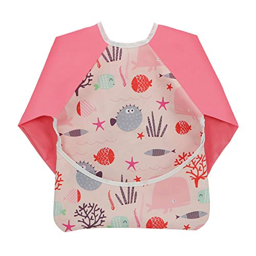 Hi Sprout Toddler Baby Waterproof Sleeved Bib, Bib with Sleeves&Pocket, 6-24 Months (pink fish) (Baby Led Weaning Finger Foods 6 Months)
