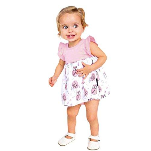ZHANGVIP Newborn Infant Toddler Baby Kids Girls Cartoon Printed Dress Clothes Romper Casual Skirt (24M, (Baby Pink Cheerleader Dress)