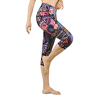 DOP DOVPOD Printed Yoga Pants High Waist Fitness Plus Size Workout Leggings Tommy Control Capris for Women