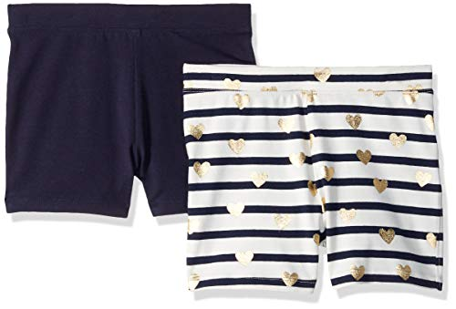 LOOK by Crewcuts Girls' 2-Pack Tumble Short, Stripe and Heart/Navy, X-Large (12)