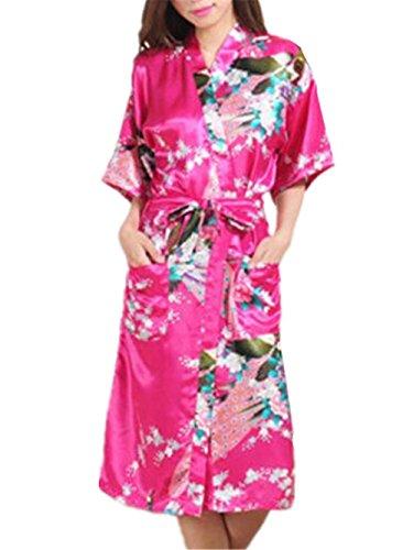 Floreale BESTHOO da Notte Notte Femminili da Abito Sleepwear Elegante Kimono Notte Stampa Notte Casual Forti Camicia Donna Rosy Taglie Allacciatura da Vestito da 44rqT