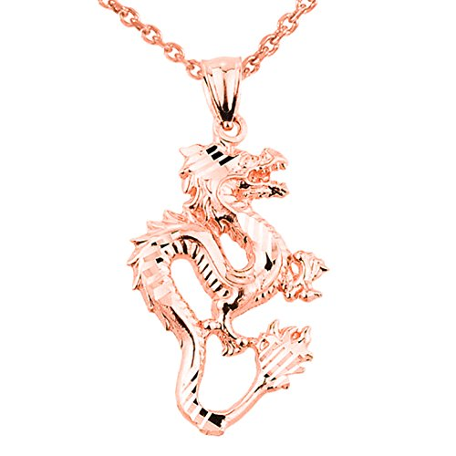 Chinese Dragon 14k Rose Gold Charm Pendant Necklace, 20