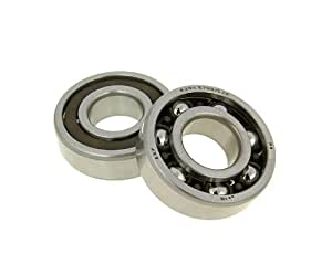 Malossi 6611566E - M6611566E Crankshaft Bearing Set 20x47x14 C3H for the 2 stoke Yamaha Zuma Scooter and All Minarelli Scooter Engines