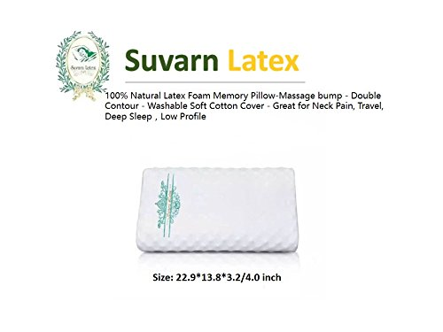 Natural Memory Latex Foam Pillow - Massage bump - Double Contour - Washable Soft Cotton Cover - Great for Neck Pain, Travel, Deep Sleep (Low Profile) by Survan Latex
