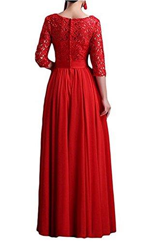 Bainjinbai Rundkragen mit Red Brautjungfernkleider Lang BallKleider Aermel Festkleider Abendkleider r4T5qrwYB6
