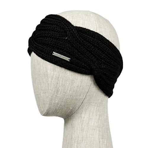 CAPRI Handmade Knitted 100% Baby Alpaca Headband Ear Warmer for Women (Ebony)