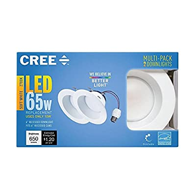 "2pk Cree LED Soft White (2,700k), 65w Equiv. (10w actual), Dimmable 6"" Recessed Downlight Can Light Retrofit"