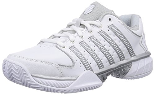 K-Swiss Women`s Hypercourt Express Leather Clay Tennis Shoes White and Silver-(8 by K-Swiss