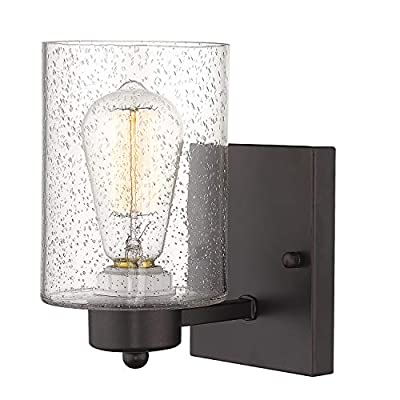 """Wall Light Sconce, Beionxii 8.5"""" Height Vintage Bathroom Vanity Lighting Fixture Oil Rubbed Bronze Finish with Clear Seeded Glass Shade"""