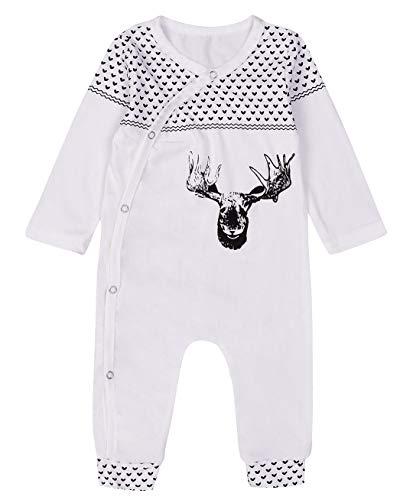SWNONE Newborn Baby Boy Girl Sleepy Deer Sleepwear Romper Sleeping Bags Pajamas (White, 0-3 m) by SWNONE