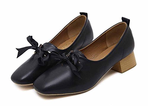 Nuevo Pajarita De Bajo Black Damas Cuero Sweet Jane Zapatos Casual Mary Zapatos Otoño Zapatos Estilo De Tacón qnIBIgxfRw