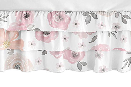 Sweet Jojo Designs Blush Pink, Grey and White Shabby Chic Girl Ruffled Tiered Baby Crib Bed Skirt Dust Ruffle for Watercolor Floral Collection - Rose Flower from Sweet Jojo Designs