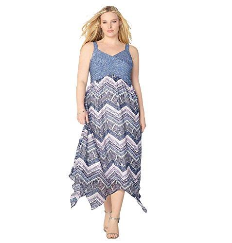 Avenue Women's Pintuck Tank Paisley Sharkbite Dress, 14/16 Azure - Center Avenues Women's