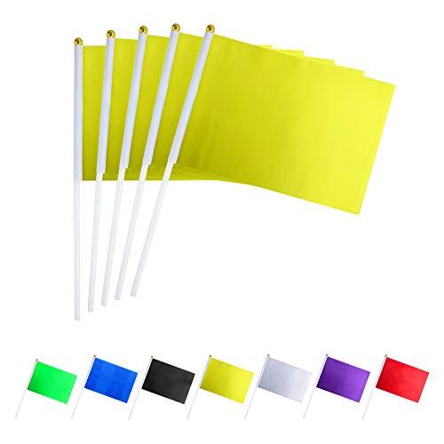 Plastic Flags - GentleGirl.USA 50 Pack Yellow Flag, Pure
