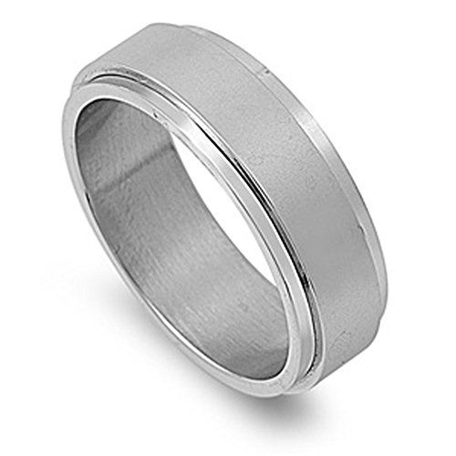 Men's Spinner Wedding Ring Classic Stainless Steel Band New USA 8mm Size 7
