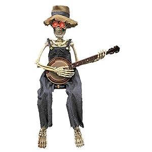 Sitting Skeleton Playing Banjo Animated Halloween Prop
