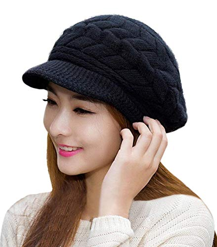 - HINDAWI Winter Hats for Women Girls Warm Wool Knit Snow Ski Skull Cap with Visor,Black