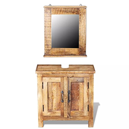 - 24 Inches Vintage Storage Bathroom Vanity Cabinet with Square Mirror Set, Multipurpose Kitchen Storage Organizer with Mirror Double Doors Shelves, Handmade Bathroom Furniture Set Solid Mango Wood