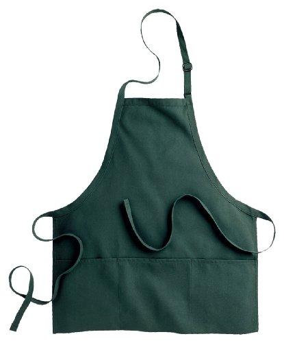 Hunter Green Bib Apron - Edwards Garment Three Divisional Pocket Bib Apron, Hunter, One Size