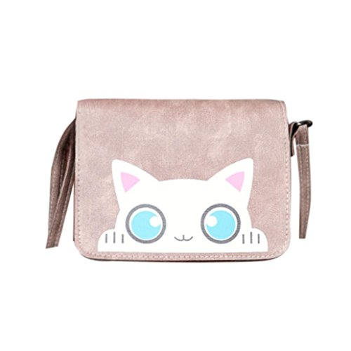 FitfulVan Clearance! Hot sale! Bags, FitfulVan Vintage Cat Pattern Shoulder Bags Women Lovely Handbags Tote Crossbody Bag (Kahki)