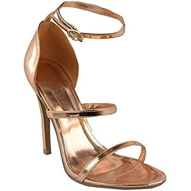 23af2926160 WOMENS LADIES ANKLE STRAPPY HIGH HEELS STILETTOS PARTY EVENING SANDALS SIZE  NEW  Amazon.co.uk  Shoes   Bags