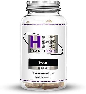 Health Hack - Hierro, 20 mg, 90 comprimidos: Amazon.es: Salud y ...