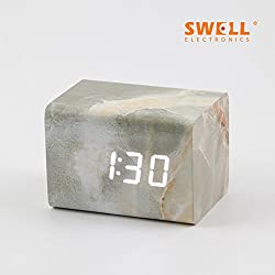 Creative marble fashion LED wooden clock voice control alarm clock bedside clock mute dormitory electronic clock,A white marble lamps (grey)