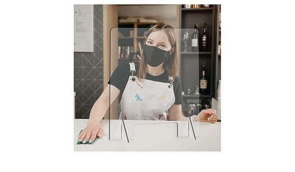 Douer Mampara Protección Oficina, Mampara Metacrilato Mostrador, Transparente Protectora con Soporte, contra Estornudos Y Tos, para Ventillas De Transacciones,120×60cm/47×24