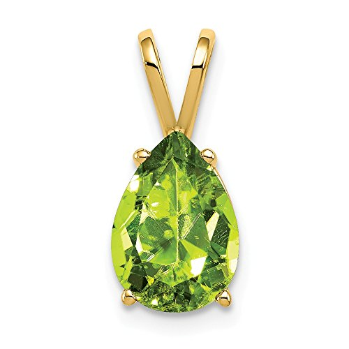 (14K Yellow Gold 10x7mm Pear Peridot pendant from Roy Rose)