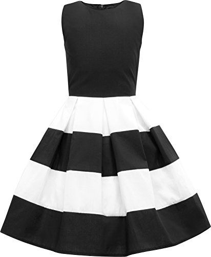 BlackButterfly Kids 'Lilly' Vintage Striped 50's Children's Girls Dress (Black, 7-8 YRS)