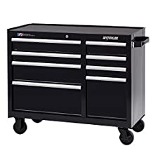 """Waterloo Industries W300 Series 8-Drawer Rolling Tool Cabinet, 41"""" W Designed, Engineered and Assembled, Black"""