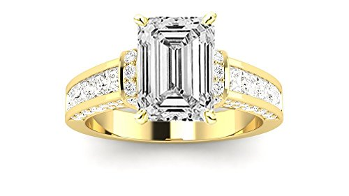 14K Yellow Gold 4.3 CTW Contemporary Channel Set Princess And Pave Round Cut Diamond Engagement Ring w/ 3.4 Ct GIA Certified Emerald Cut I Color VS1 Clarity Center (3.4 Ct Round Diamond)