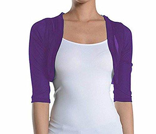 Fashion Secrets Junior`s Sheer Chiffon Bolero Shrug Jacket Cardigan 3/4 Sleeve (X Small, Purple)