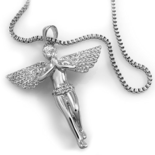 (18K White Gold Plated Praying ANGEL Pendant Piece with BOX chain, (Silver))