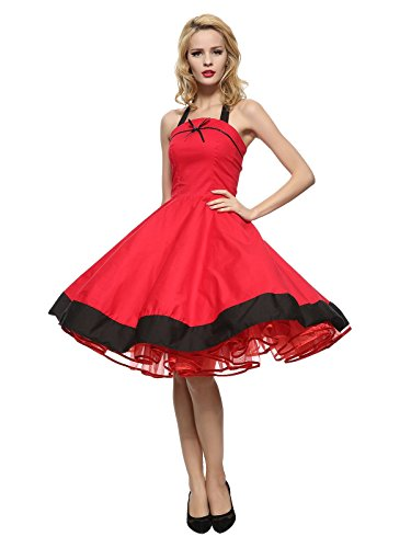27d935c65d64 Maggie Tang Women's 1950s Vintage Rockabilly Dress Casual, Clothing ...