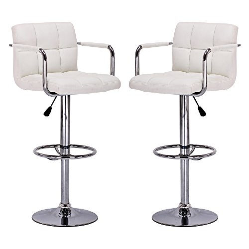 - Vogue Furniture Direct White Leather Adjustable Height Swivel Barstool Set with Armrest and Footrest (Set of 2) VF1581011-2...
