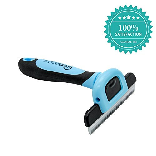 Living Express Professional Pet Grooming Tool,Hair Self-Cleaning,Trimming for All dogs and Cats(Pet DeShedding Brushwith Stainless Steel Safety Comb, Use for Small, with Short or Long Hair)