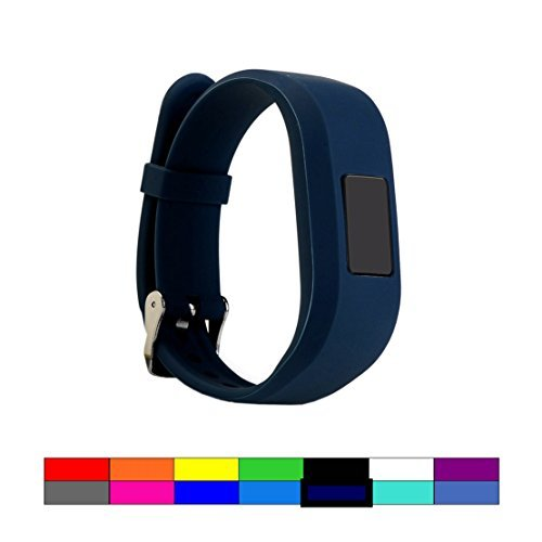 Dunfire Replacement Wristbands and Clip Cases for Garmin Vivofit 3 and Vivofit JR, Large Size and Small Size Bands, One Size Clip Case (1PC – Cruise Navy, Large)