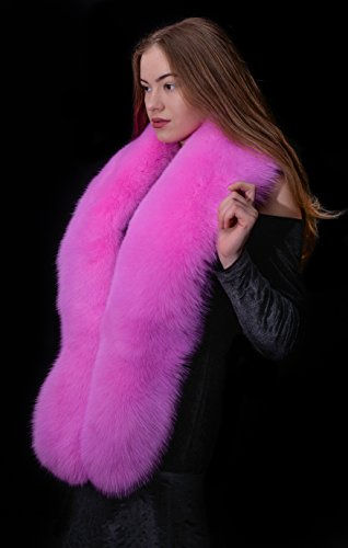 Saga Furs Fluorescent Pink Shadow Fox Fur Handmade Shoulder Wrap Scarf Boa Stole by Your Furrier