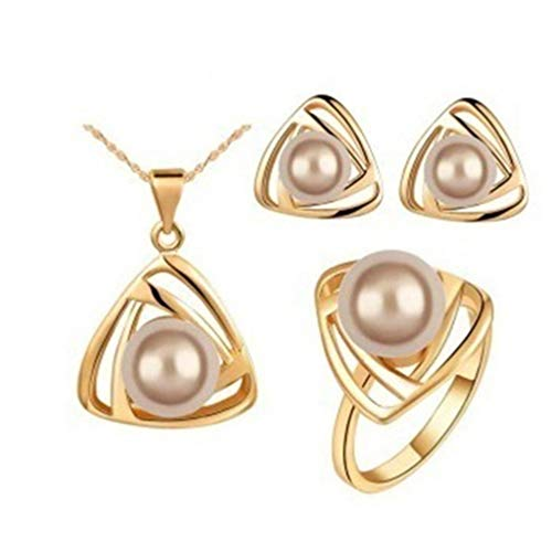 Myhouse Triangle Large Pearl Crystal Earrings Necklace Ring Set for Women Girls Charm Accessories,Color 2
