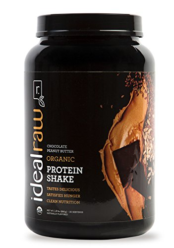 (IdealRaw, Organic Protein Shake, Plant Based Protein Powder, Chocolate Peanut Butter 30 Servings)