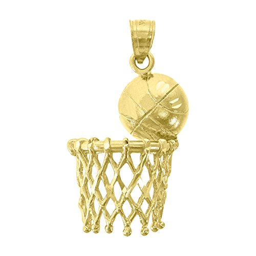 - 14kt Yellow Gold Mens Diamond-Cut Basket Ball Sports (Height with bail: 31.8mm) Pendant Charm (13.6mm x 33.02mm)