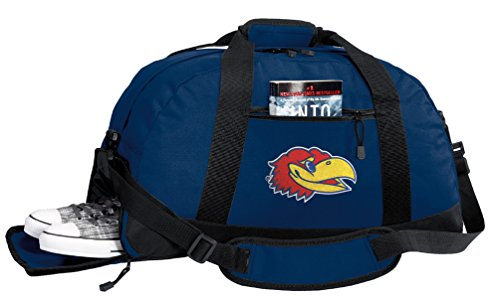 Broad Bay KU Jayhawks Duffel Bag - University Kansas Gym Bags w/SHOE POCKETS (Kansas Jayhawks Duffle Bag)